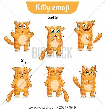 Set kit collection sticker emoji emoticon emotion vector isolated illustration happy character sweet, cute cat