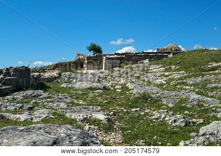 Stone remaining on Bribir fortress in Dalmatia