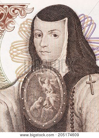 Juana de Asbaje portrait from old Mexican money