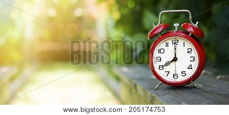 Time concept - red alarm clock web banner with copy space