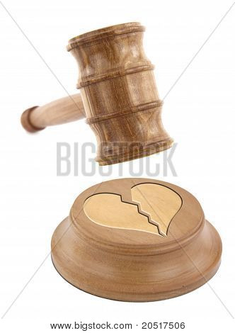 A Judge's Gavel Coming Down On A Broken Heart Design