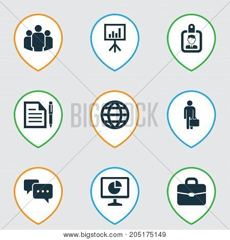 Job Icons Set. Collection Of Presentation Board, Chatting, Id Badge And Other Elements