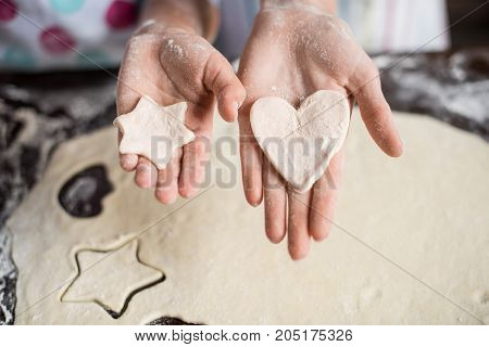 Raw Dough In Hands
