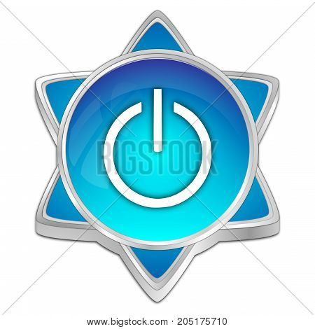 glossy blue Power Button - 3D illustration