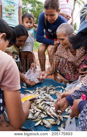 Vendor Sell Freshly Caught Small Fish From River