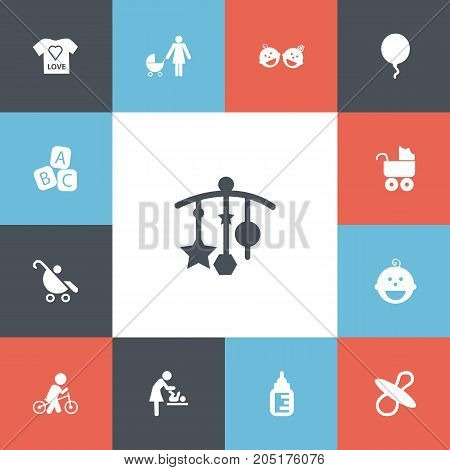 Set Of 13 Editable Infant Icons. Includes Symbols Such As Baby Bottle, Adorn, Perambulator And More