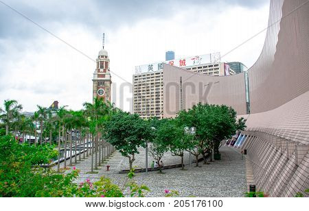 HONG KONG - JUNE 1: Hong Kong Clock Tower, the famous landmark in Hong Kong located on the southern shore of Tsim Sha Tsui, Kowloon