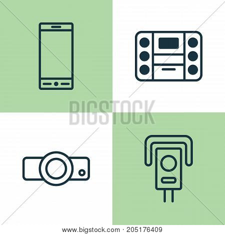Hardware Icons Set. Collection Of Cctv, Presentation, Boombox And Other Elements