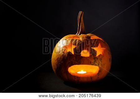 Halloween Pumpkin On A Black Background, studio shot