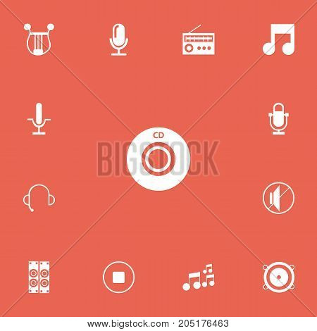 Set Of 13 Editable Sound Icons. Includes Symbols Such As Recorder, Musical Instrument, Studio Device And More