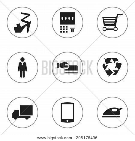 Set Of 9 Editable Business Icons. Includes Symbols Such As Disbursement, Stiletto, Reuse And More