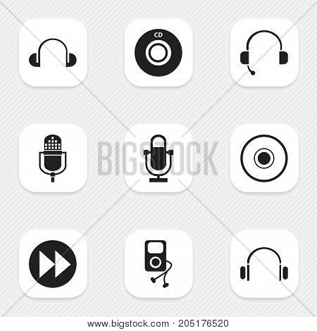 Set Of 9 Editable Multimedia Icons. Includes Symbols Such As Call Center, Compact Disk, Microphone And More