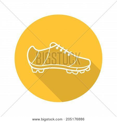 Cleat flat linear long shadow icon. American football, rugby, soccer, baseball player's shoe. Vector outline symbol