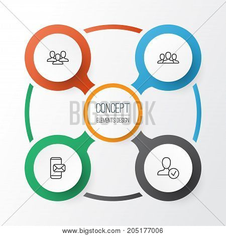 Network Icons Set. Collection Of Confirm, Phone Messaging, Society And Other Elements