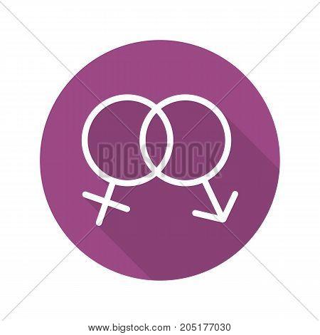 Sex flat design long shadow glyph icon. Interlocked man and woman symbols. Sex shop sign. Vector silhouette illustration