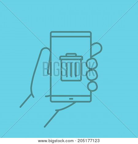 Hand holding smartphone linear icon. Smart phone data delete app. Thin line outline symbols on color background. Vector illustration
