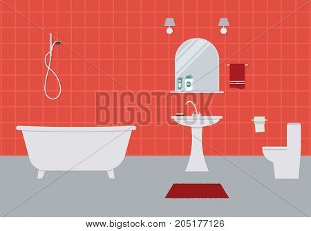 Bathroom and toilet in a red color. There is a bathtub, a wash basin, a toilet bowl, a mirror and other objects in the picture. Vector flat illustration.