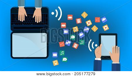 Modern Cloud Services and Cloud Computing Elements Concept. Flat Vector Illustration. Hands holds laptop and a tablet and share data on cloud. Vector flat illustration.