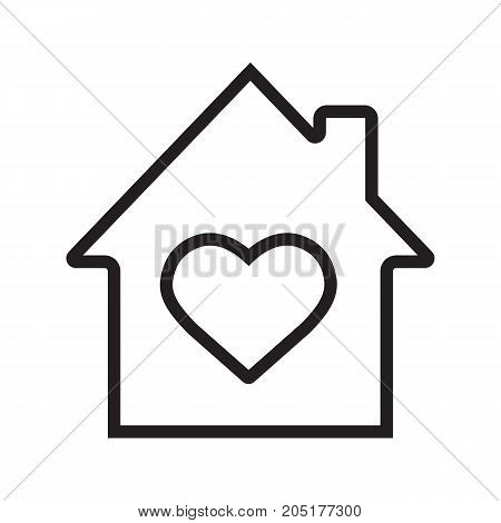 House with heart inside linear icon. Thin line illustration. Warm, comfort and safe residence. Family house contour symbol. Vector isolated outline drawing