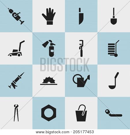 Set Of 16 Editable Apparatus Icons. Includes Symbols Such As Gauntlet, Spanner, Circle Spanner And More