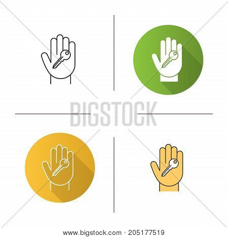 Hand with key icon. Flat design, linear and color styles. Realty purchase. Private property owner. Isolated vector illustrations