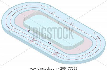 Winter sport. Isometric multifunctional stadium for skating speed skating curling in vector