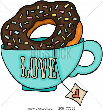 Scalable vectorial image representing a Love tea cup and chocolate cake donut, isolated on white.