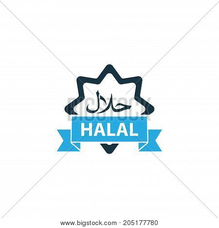 Premium Quality Isolated Halal Element In Trendy Style.  Food Colorful Icon Symbol.