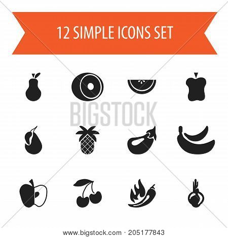 Set Of 12 Editable Fruits Icons. Includes Symbols Such As Apple, Pear, Cantaloupe And More