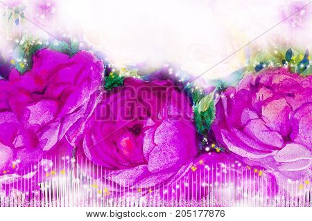 Painting flora art watercolor illustration pink, violet color of the roses and emotion beauty in nature season or white background. Hand painted Greeting cards on special occasions.