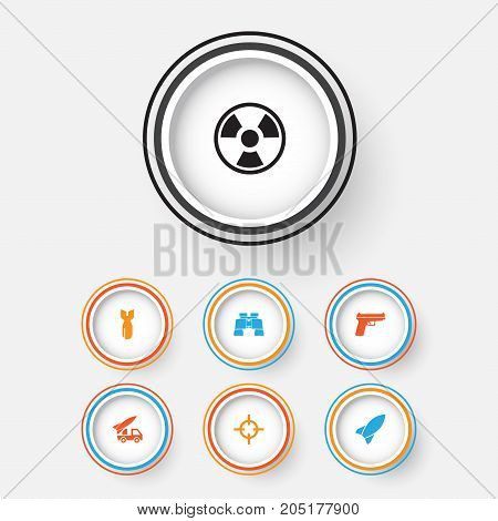 Army Icons Set. Collection Of Target, Glass, Missile And Other Elements