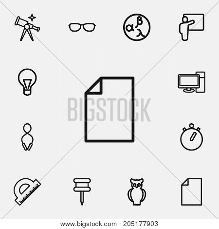 Set Of 12 Editable Science Outline Icons. Includes Symbols Such As Pushpin, Ruler, Stopwatch And More