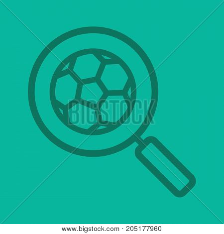 Football game search linear icon. Magnifying glass with soccer ball. Thick line outline symbols on color background. Vector illustration