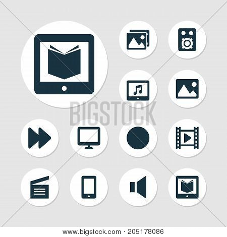 Media Icons Set. Collection Of Cellphone, Gallery, Circle And Other Elements