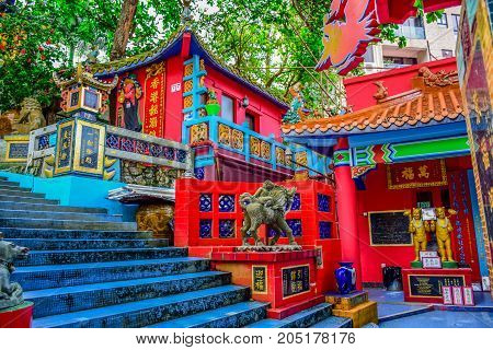 HONG KONG, MAY 31: Kwun Yam Shrine temple, a Taoist shrine at the southeastern end of Repulse Bay, Hong Kong Island