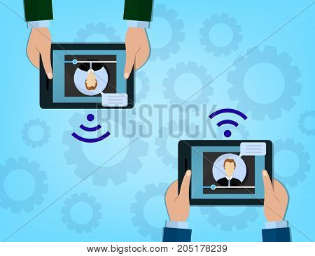 Modern Cloud Services and Cloud Computing Elements Concept. Flat Vector Illustration. Hands holds a tablets and share data on cloud. Vector flat illustration.