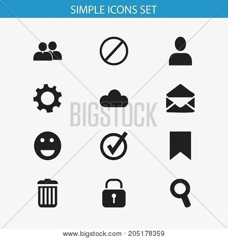 Set Of 12 Editable Network Icons. Includes Symbols Such As Magnifier, Security, Sky And More