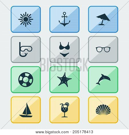 Sun Icons Set. Collection Of Sea Star, Bikini, Spectacles And Other Elements