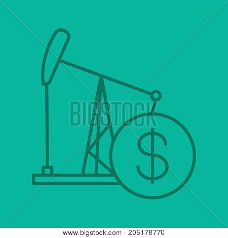 Oil trade linear icon. Oil derrick with dollar sign. Thin line outline symbols on color background. Vector illustration