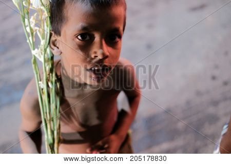 Dhaka Bangladesh september 17, Bangladeshi slum child living at poverty and asking for money to buy foods located at central part of dhaka city in bangladesh taken september 15th, 2017