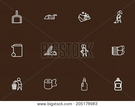 Set Of 12 Editable Cleaning Outline Icons. Includes Symbols Such As Trash Can, Sweeping, Scoop And More