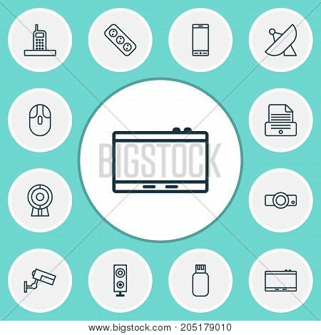 Gadget Icons Set. Collection Of Antenna, Usb, Speaker And Other Elements