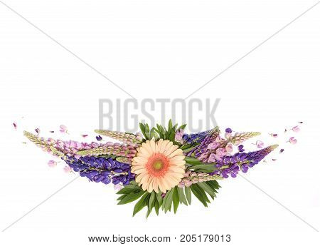 White Background With Decor Of Flowers