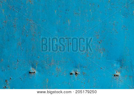 Blue Rusty Metal Texture. Grunge Abstract Background