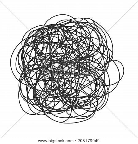 Abstract scribble, chaos doodle pattern. Hand drawn scrawl sketch. Vector illustration Isolated on white background