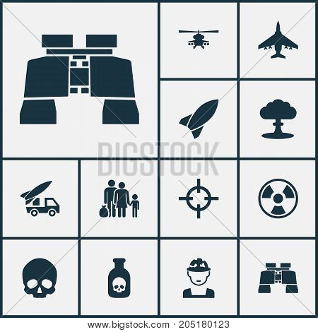 Army Icons Set. Collection Of Ordnance, Glass, Aircraft And Other Elements