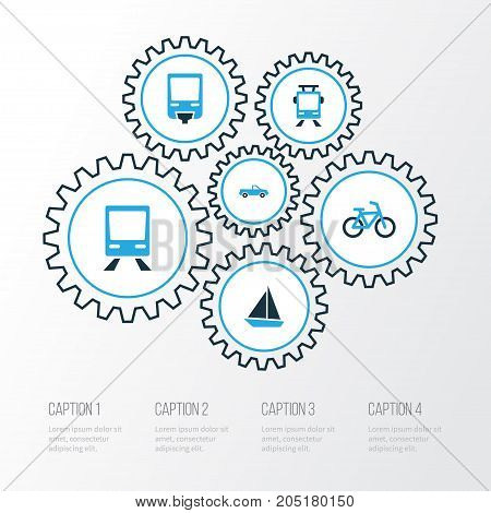 Transportation Colorful Icons Set. Collection Of Sailboat, Bicycle, Cabriolet And Other Elements