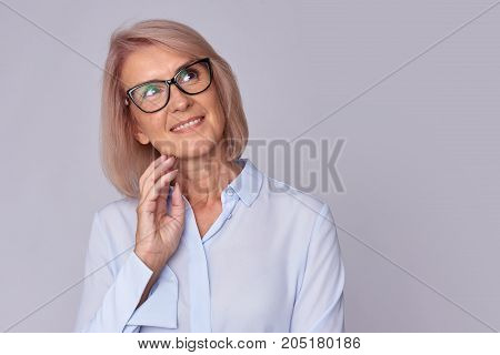 Smiling Old Woman Wearing Glasses. Isolated