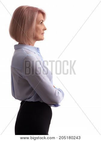 Side View Of An Old Business Woman