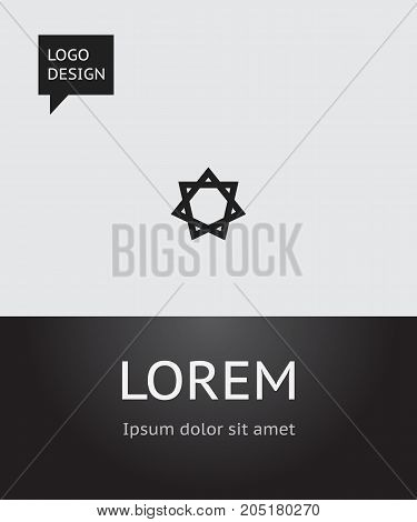 Vector Illustration Of Dyne Symbol On David Star Icon
